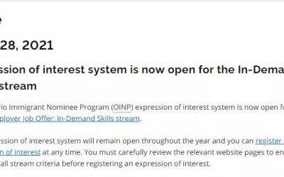 安省省提名 – 紧缺职业类别系统现已开放申请